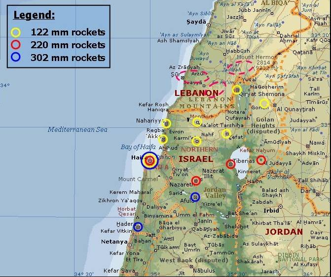 Hizballahs Rocket Campaign Against Northern Israel A Preliminary - Map of israel today