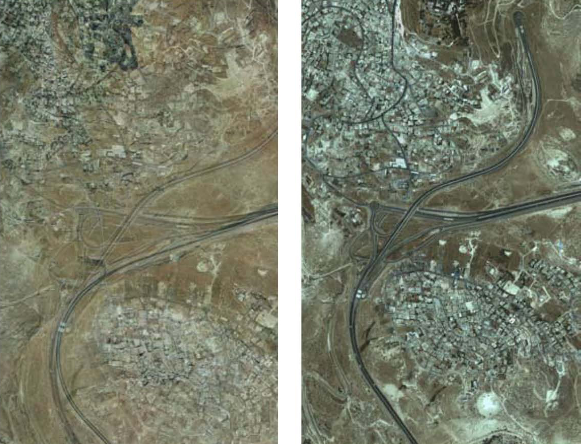 Palestinian Construction Encroaching on the Jerusalem-Maale Adumim Highway (1989 vs. 2012)