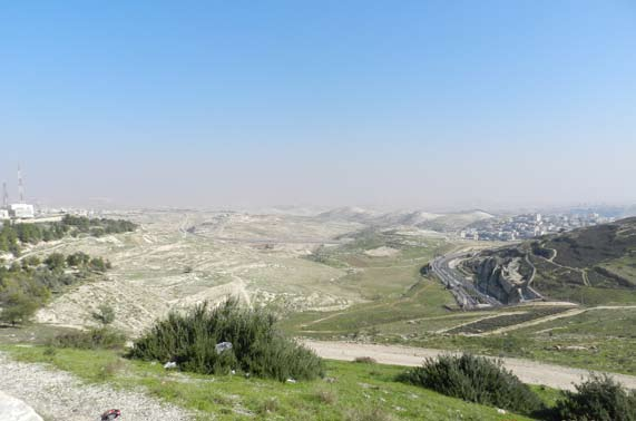 View of the E1 area and Maale Adumim (on right) as seen from Jerusalem (Mount Scopus).