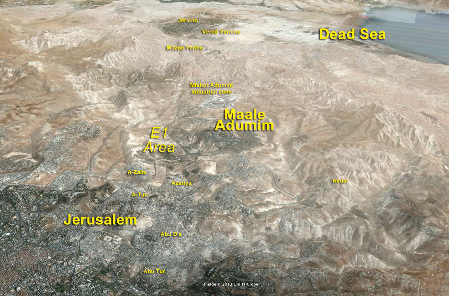 Google Earth Map – View from Jerusalem to the Dead Sea