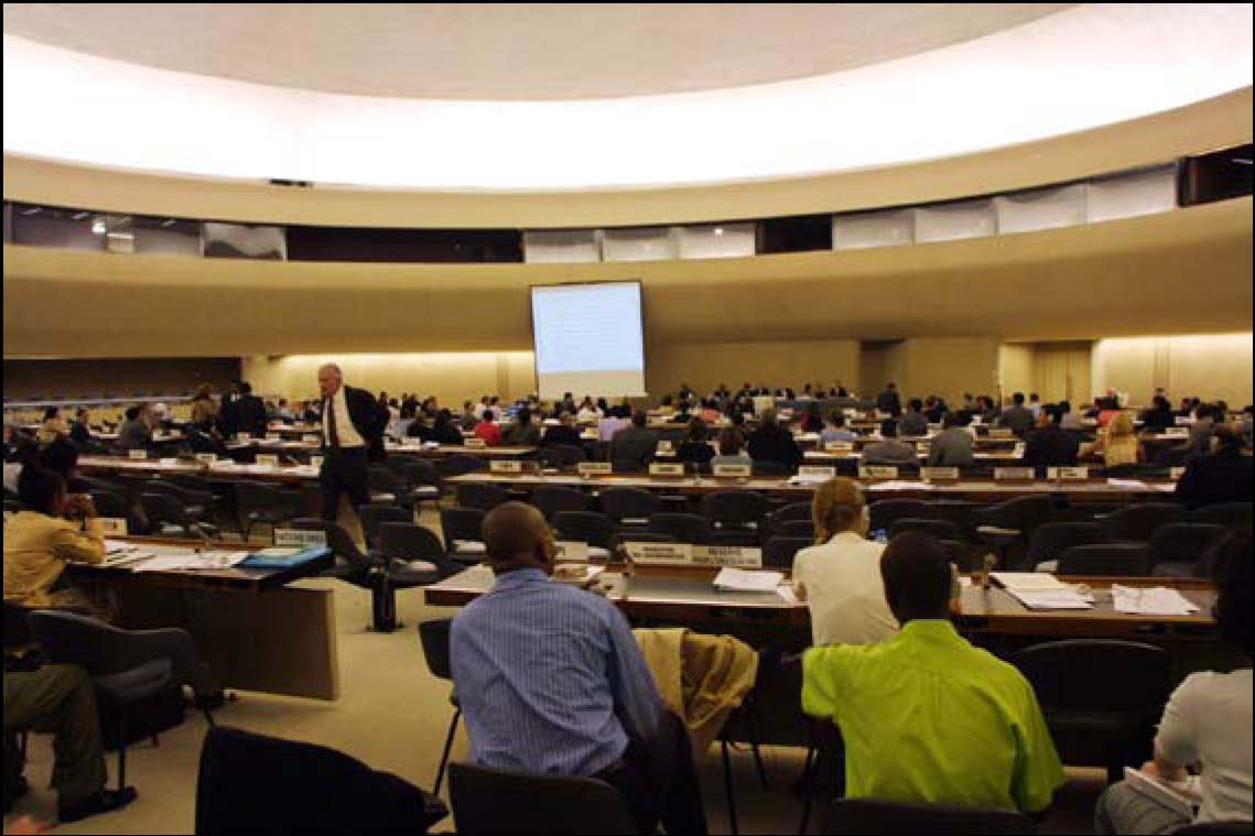 Delegates attend the second meeting of the Preparatory Committee for the Durban World Conference Against Racism, July 30, 2001, at the Palais des Nations (UN) in Geneva. Durban has become recognized as a seminal event in the current global BDS campaign against Israel.