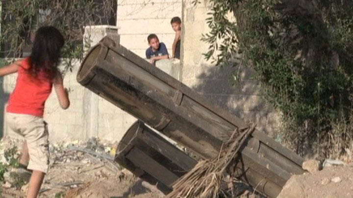 Israel and the Gaza Strip: Why Economic Sanctions Are Not Collective Punishment Rocket launcher located in Gaza City, 50 meters from where most international reporters were staying and 100 meters from a clearly marked UN building. (France24)