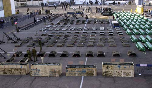Military equipment confiscated from MV Karine A in January 2002.  The vessel was found to be carrying 50 tons of weapons, including short-range Katyusha rockets, antitank missiles, and high explosives – all linked to Iran and Hizbullah.