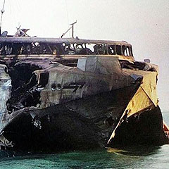 The remains of the United Arab Emirate High Speed Vessel HSV 2 Swift